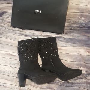 a.n.a Black studded boots, 8M NWT